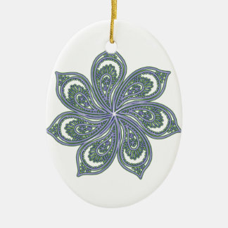 Pinwheel of Paisleys Blue Double-Sided Oval Ceramic Christmas Ornament