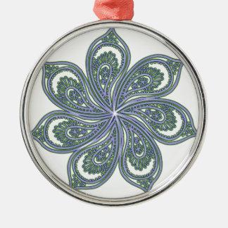 Pinwheel of Paisleys Blue Silver-Colored Round Decoration