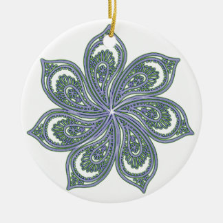 Pinwheel of Paisleys Blue Double-Sided Ceramic Round Christmas Ornament