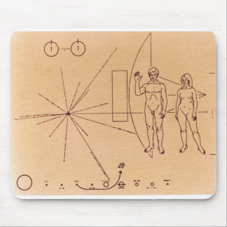 Pioneer 10's Plaque Engraved Gold-Anodized Plate Mouse Pad