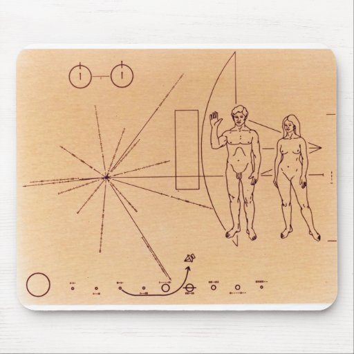 Pioneer 10's Plaque Engraved Gold-Anodized Plate Mousepads