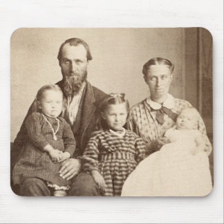 Pioneer Family Vintage Albumen CDV Photo 1860 s Mousepad