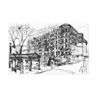 Pioneer Square, Seattle. Sketch. Canvas Print