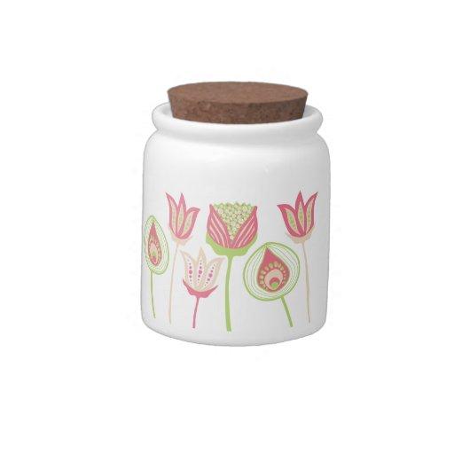 Pip Pip Hooray Funky Lime & Pink Party Flower Jar Candy Jar