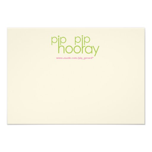 Pip Pip Hooray Product Backing Card Personalized Invites