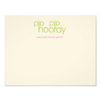 "Pip Pip Hooray Product Backing Card 4.25"" X 5.5"" Invitation Card"