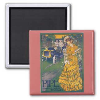 Pipe Automobile - Vintage Belgian Advertisement Square Magnet