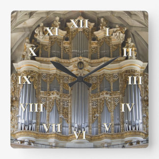 Pipe organ clock with roman numerals