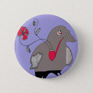 Pipe smoking crow 6 cm round badge
