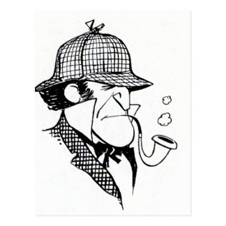 Pipe Smoking Detective Postcard