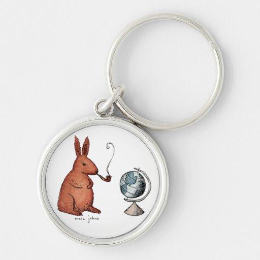 pipe-smoking rabbit - round keychain