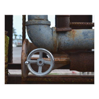 pipe wheel rusting metal steampunk 21.5 cm x 28 cm flyer