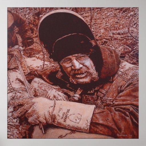 Pipeline Welder Framed Matte Canvas 35x35 Poster
