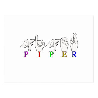 PIPER NAME SIGN ASL FINGERSPELLED POSTCARDS