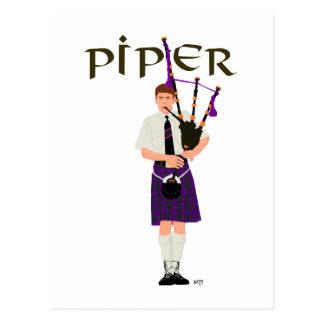 PIPER Purple Plaid Post Card