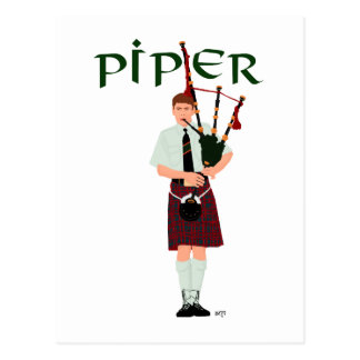 PIPER Red Plaid Post Card