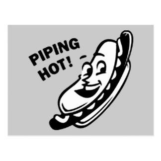 PIPING HOT! Retro Hot Dog - Black & White Postcard