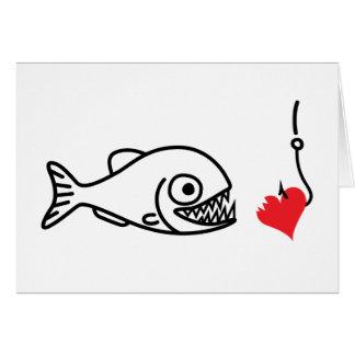 Piranha bites heart on hook anti valentines day note card