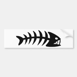 Piranha Fish Bone Bumper Sticker