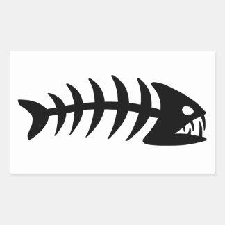 Piranha Fish Bone Rectangular Sticker