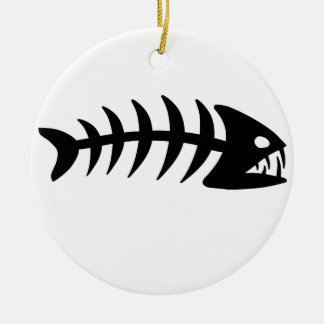 Piranha Fish Bone Round Ceramic Decoration