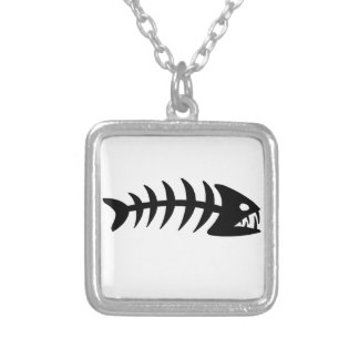 Piranha Fish Bone Silver Plated Necklace