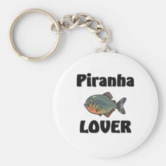 Piranha Lover Basic Round Button Key Ring