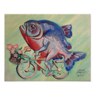Piranha On A Bicycle Posters