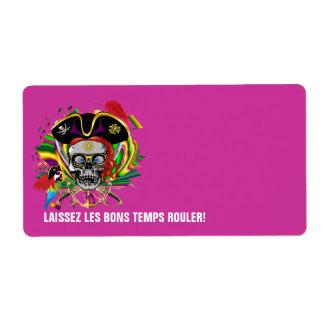 Pirate-2 Mardi Gras Label Shipping Label