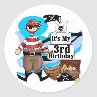 Pirate 3rd Birthday Tshirts and Gifts Round Sticker