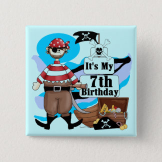 Pirate 7th Birthday Tshirts and Gifts 15 Cm Square Badge