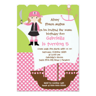Pirate Ahoy Mates Birthday Party Invitation Girl
