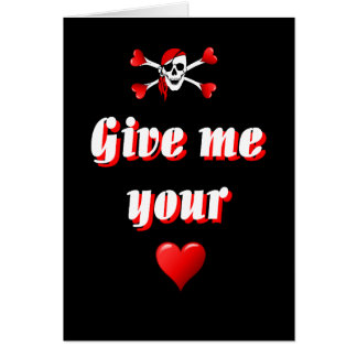 Pirate and hearts card