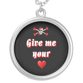 Pirate and hearts silver plated necklace