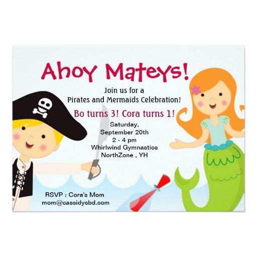 Pirate and Mermaid Birthday Party invitation