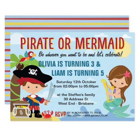 Pirate and Mermaid Card