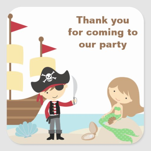 Pirate and Mermaid Stickers Sticker