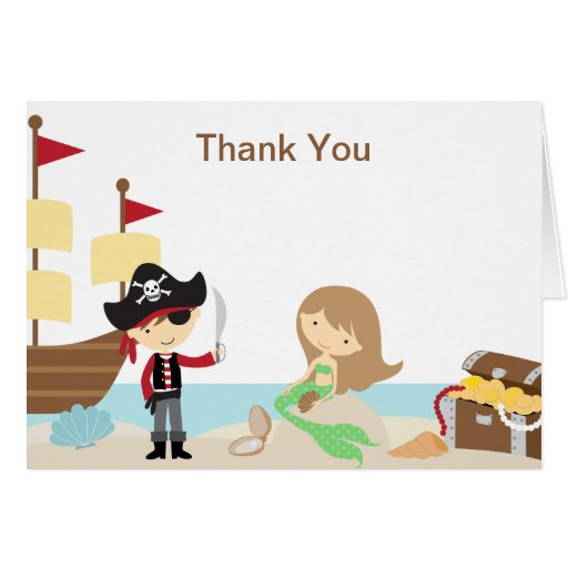 Pirate and Mermaid Thank You Note Cards Cards