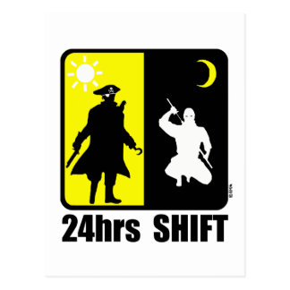 Pirate and ninja 24hrs shift post cards