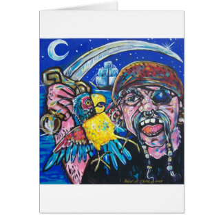 pirate and parrot greeting card
