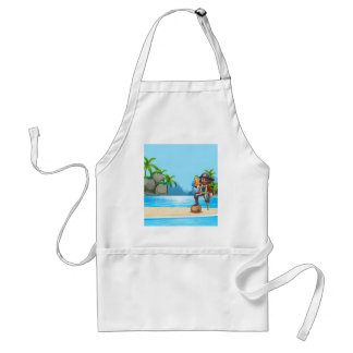 Pirate and parrot on the beach standard apron