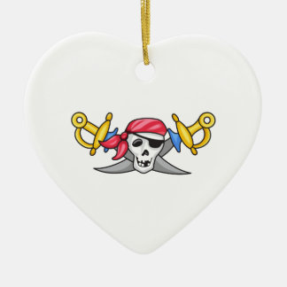 PIRATE AND SWORDS CERAMIC HEART DECORATION