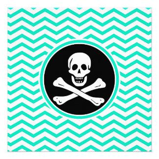 Pirate Aqua Green Chevron Invite