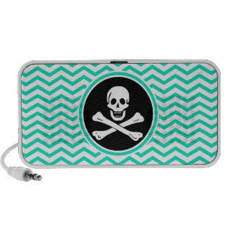 Pirate; Aqua Green Chevron iPod Speaker
