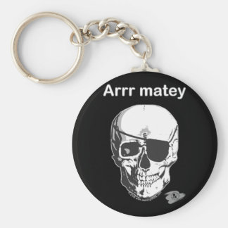 Pirate- Arrr Matey Basic Round Button Key Ring
