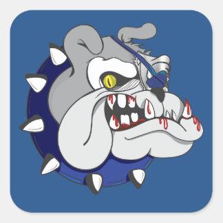 Pirate Beastly Bulldog Zombie Square Sticker