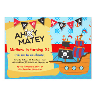 Pirate Birthday Party, Ahoy Matey Card