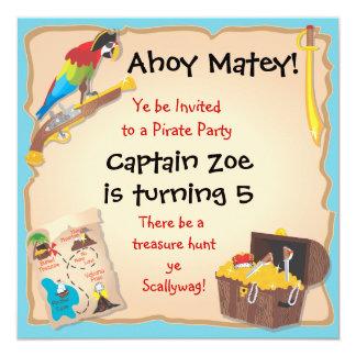 Pirate Birthday Party and Treasure Hunt 13 Cm X 13 Cm Square Invitation Card