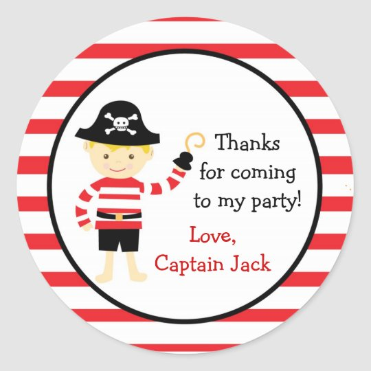 Pirate Birthday Party Favour stickers seals tags