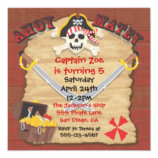 Pirate Birthday Party with Photo Insert 13 Cm X 13 Cm Square Invitation Card